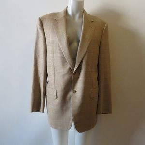 CANALI BEIGE/BROWN/BLUE PLAID 2 BUTTON BLAZER 40